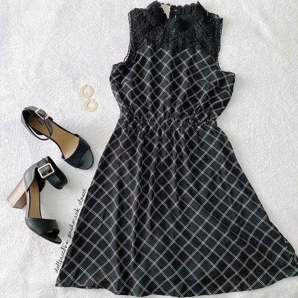 Maurices Dresses & Skirts - NWT Black Lace High Neck Windowpane Plaid Dress